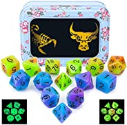 CiaraQ Polyhedral Dice Set with Black Drawstring Pouch, One Double-Colors Complete Dice Sets of D4 D6 D8 D10 D