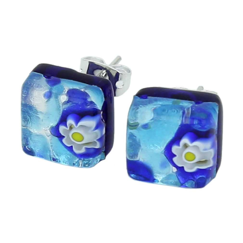 GlassOfVenice Murano Glass Venetian Reflections Square Stud Earrings - Aqua Blue