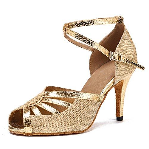 Mediados De Wymname Mujeres Zapatos Gb Interior Pie Dorado Latino Baile Sandalias tacones Dedo Del Abierta Amistad YxnrY