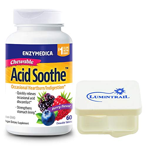 Enzymedica Chewable Acid Soothe, Supports The Relief of Occasional Heartburn and Indigestion, 60 Count Bundle with Lumintrail Pill Case