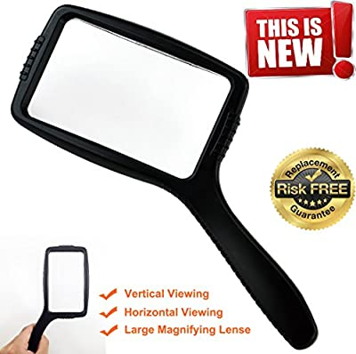 Jumbo Size Magnifying Glass Wide Horizontal Lens(3x Magnification)- Shockproof & Scratch Resistant Design W/Large Viewing Area Ideal for Reading Small Prints & Low Vision