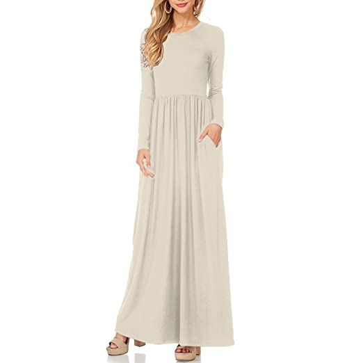 baf6aaacdab97 Idingding Long Maxi Dress, Womens Long Sleeve Plain Pockets Pleated Tunic  Loose Swing Casual Dress