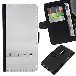 KLONGSHOP // Tirón de la caja Cartera de cuero con ranuras para tarjetas - Invierno Nieve Gris Blanco Árboles minimalista - LG G2 D800 //
