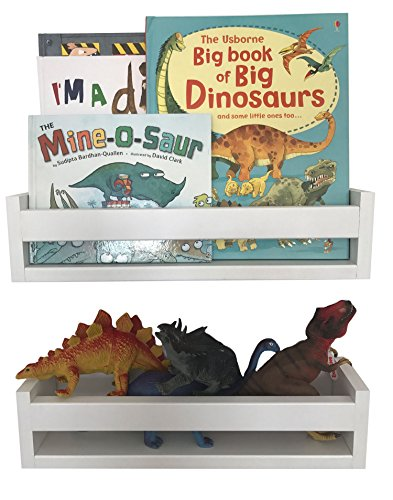 Nursery Room Toddler Bedroom Wall Shelf Decor (Set of 2, White, Wood)