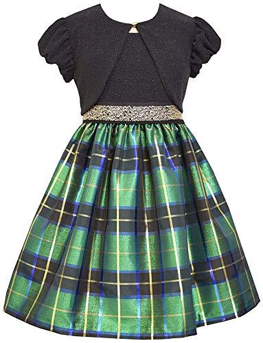 Little Girls 2T-6X Green/Black Metallic Plaid Taffeta Dress/Shrug Set (5, Green) (For Girls Dresses Christmas Green)