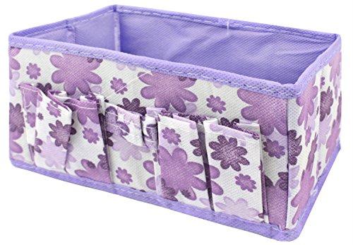 niceeshop(TM) Makeup Cosmetic Storage Box Bag Organiser Foldable Makeup Stationary Container, Purple
