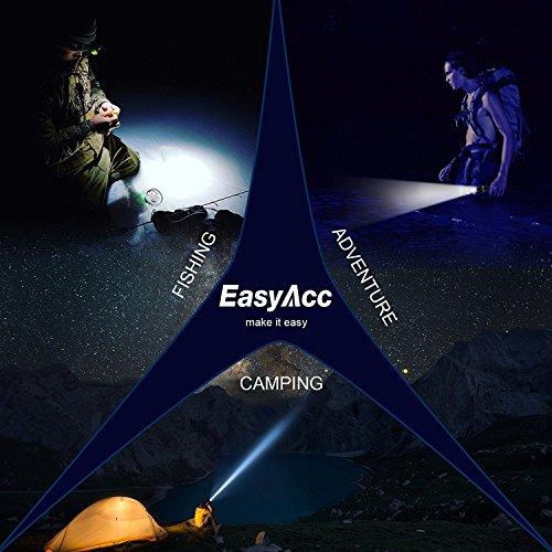 EasyAcc Lampe torche LED avec sangle de tête et support vélo, Focus réglable, Noir