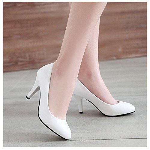 Heels Shoes Court Slip TAOFFEN White 8CM Basic On Women's xqBFBp