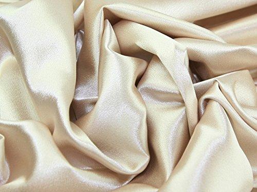 (Satin Backed Crepe Bridal Fabric Beige - per metre)