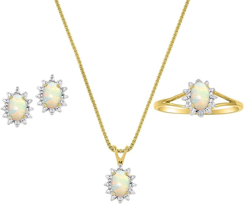 Auténtica Natural Opal y diamante Colgante, pendientes & anillo set en 14K oro amarillo chapado en plata con cadena y caja de regalo