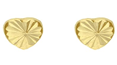fa142c1fd Adara 9 ct Yellow Gold Small Diamond Cut Heart Stud Earrings: Amazon.co.uk:  Jewellery
