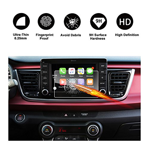 Tempered Glass Protector Replacement for 2018 Rio UVO3 Touch Screen Car Display Navigation Screen Protector, RUIYA HD Clear Car in-Dash Screen Protective Film (7-Inch)