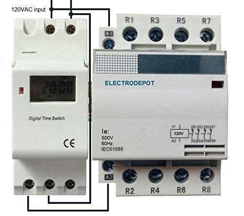 60 Amp 4 Pole 7 Day, 24 Hrs Programmable Timer W Battery Backup, Control 110/120V AC