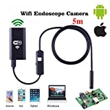QMSSIC 8MM Lens Micro WIFI Endoscope Inspection Borescope Camera snake camera 2.0 Megapixel 720P HD Waterproof Wireless Universal for iPhone iOS Android SMARTPHONES / PC / Mac 5M(16.5ft)