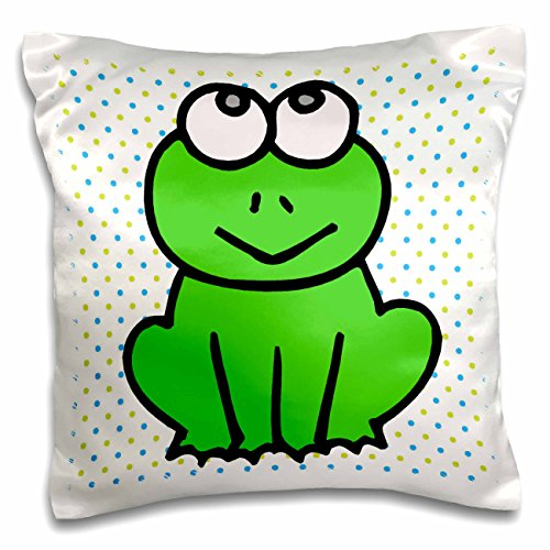 Froggy Pillow - 3dRose Cute Little Green Froggy Frog Cartoon Animal Design Polka Dots Background - Pillow Case, 16 by 16-inch (pc_116351_1)