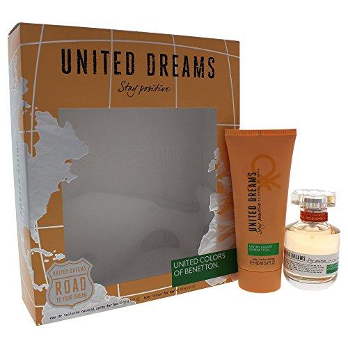 - United Dreams Stay Positive by United Colors of Benetton for Women 2 Piece Set Includes: 1.7 oz Eau de Toilette Spray + 3.4 oz Body Lotion