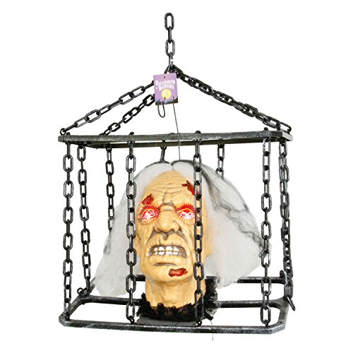 [Halloween Haunters Animated Hanging Caged Shaking Zombie Witch Severed Head Prop Decoration - Scary Screams, Flashing Eyes, Jail Prisoner - Battery Operated] (Die Zombie Die Prop)