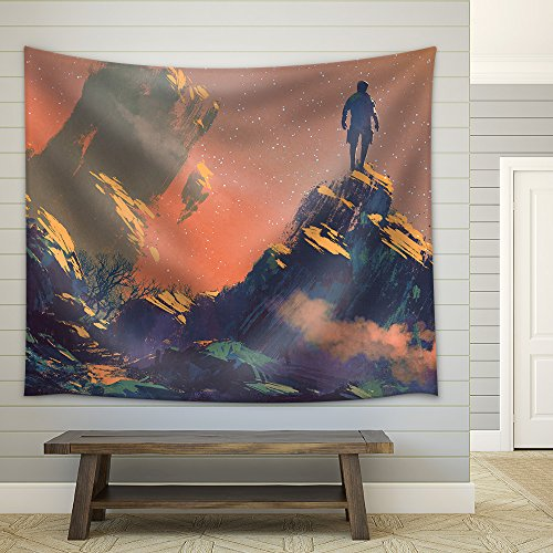 Man Standing on Top of the Hill Watching the Stars Illustration Painting Fabric Wall Tapestry