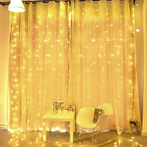 BHCLIGHT Window Curtain String Light,300 LED Icicle Lights for Bedroom Holiday Wedding Party Garden Outdoor Indoor Wall Decorations,Plug in 8 Modes 300 LED String Lights Warm White