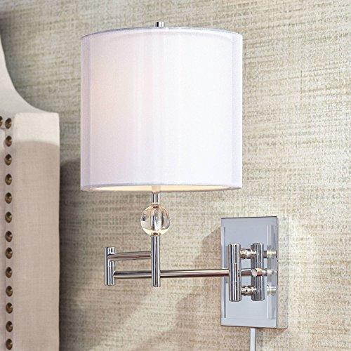 Kohle Chrome and Acrylic Ball Swing Arm Wall Lamp - Possini Euro Design ()