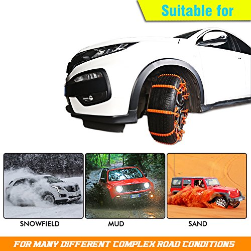 GAMPRO Anti-skid Chains 10 Pcs, Portable Emergency Traction Aid Anti-slip Snow Mud Sand Tire Chains Most Car SUV Van ATV etc. Comes Free Shovel Gloves(10 Pcs) by GAMPRO (Image #1)