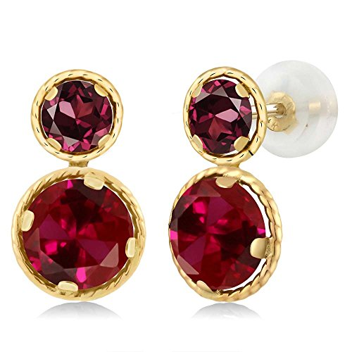 Gem Stone King 2.74 Ct Round Red Created Ruby Red Rhodolite Garnet 14K Yellow Gold Earrings