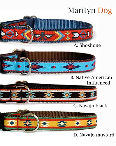 Black Dog Collar : Navajo, Southwestern & Native American influenced Designer Dog Collar for Puppies, Small Dogs to Large Dogs. Made in The U.S.A.