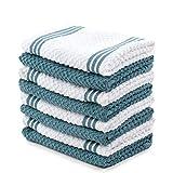Sticky Toffee algodón paño de cocina de rizo, 8unidades, 12en x 12en, Azul, 12 in x 12 in