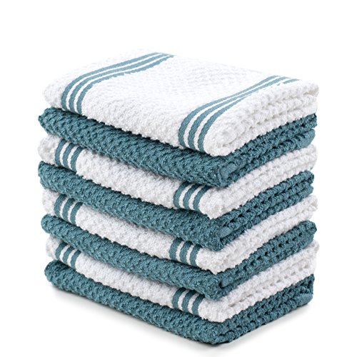 Sticky Toffee Cotton Terry Kitchen Dishcloth, Blue, 8 Pack, 12 in x 12 in -