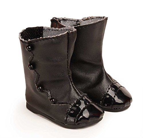 Doll Shoes Black Leatheroid Boots Fit 18 inch American Girl