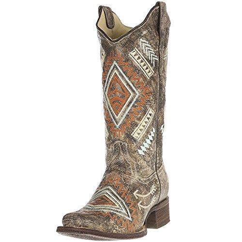 CORRAL Women's multicolored Diamond Embroidered Cowgirl Boot Square Toe Black 9 M US