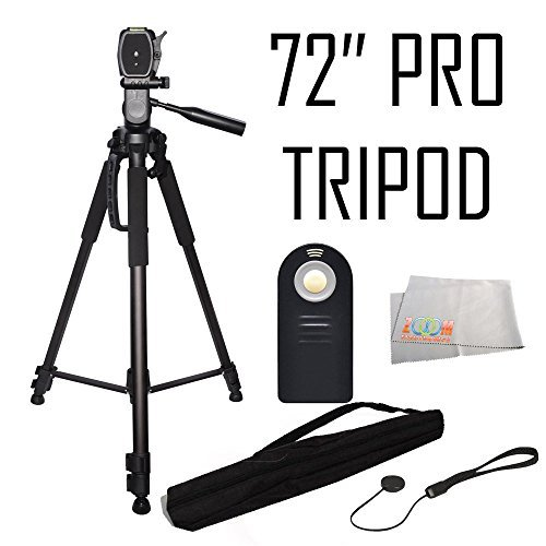 Professional 72-inch Tripod 3-way Panhead Tilt Motion with Built In Bubble Leveling + Wireless IR Remote Control Shutter Release + Cap Keeper & Cleaning Cloth for the Canon EOS 70D, 60D, 7D, 7D Mark II, SL1, T6s, T6i, T5i, T5, T4i, T3i, T3, T2i, T1i, & XSi