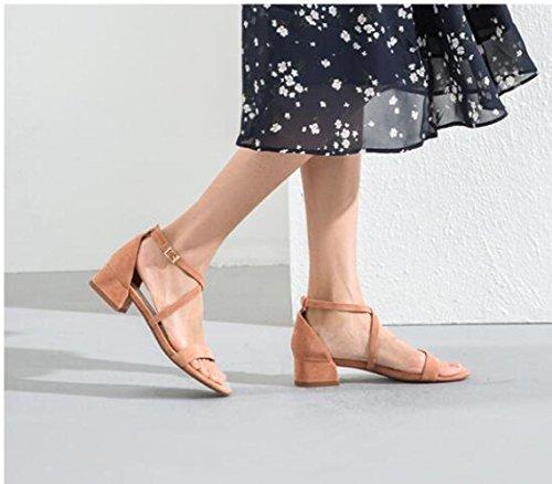 a donna tacco DHG Sandali 38 casual alti Sandali piatti Sandali con basso da Pantofole estivi moda alla tacco Nero basso Tacchi 7q6q4Iw