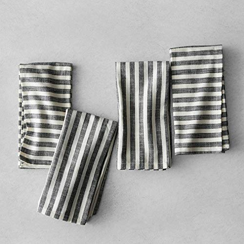 (Hearth and Hand with Magnolia Striped Napkins (Set of 4) Black/Cream Joanna Gaines Collection Limited Edition )