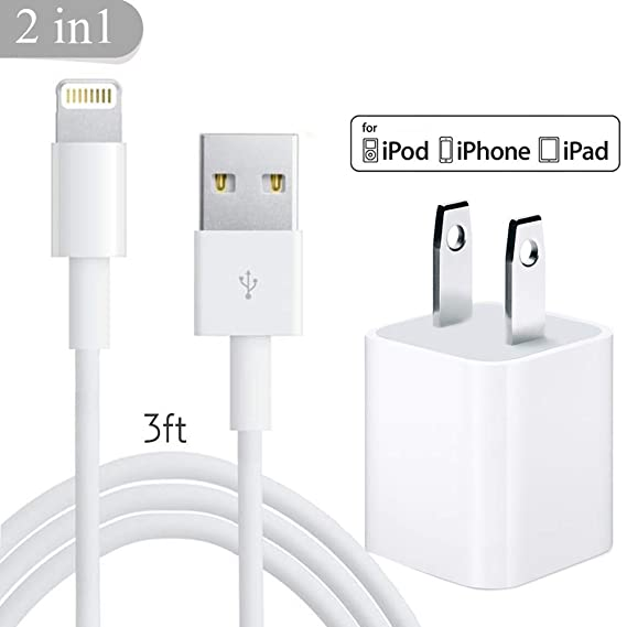 wholesale dealer 50b79 9d7e7 iPhone Charger, 1 Charger Cable + 1 Wall Charger Adapter, USB Wire Data  Sync Charging Cord Compatible with iPhone Xs MAX XR X 8 8 Plus 7 7 Plus 6s  6s ...