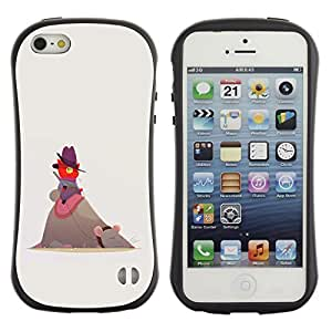 Be-Star Impreso Colorido Diseño Antichoque Caso Del Iface Primera Clase Tpu Carcasa Funda Case Cubierta Par Apple iPhone 5 / iPhone 5S ( cute funny cat mouse red beige cowboy )