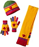 Kidorable Yellow Heart Soft Hat/Scarf/Glove Set for Girls w/Fun Flowers, Multicolor Fingers Ages 9+
