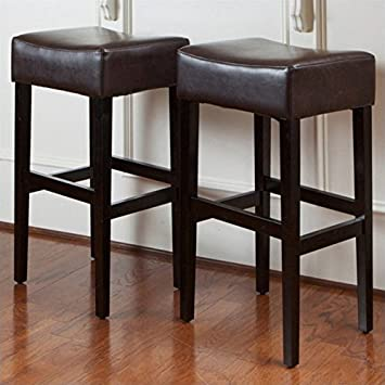 Noble House Rodriguez Backless Bar Stools In Brown (Set Of 2)