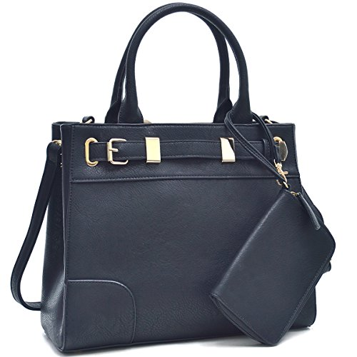 dasein-womens-designer-belted-satchel-handbag-top-handle-purse-work-bag-briefcase-with-shoulder-stra
