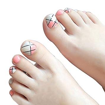 Amazon 24 Pcs False Toenails Black Stripe Foot Nail Art Full