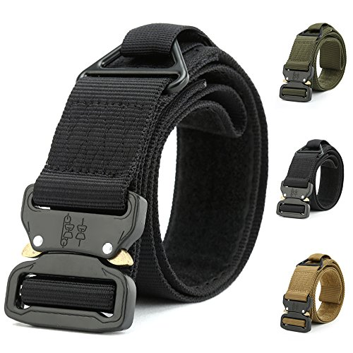 ATLES Tactical Belt, Military Style Nylon Web Waist Belt Heavy Duty Riggers Belt with V-Ring and Quick Release Metal Buckle (Black)