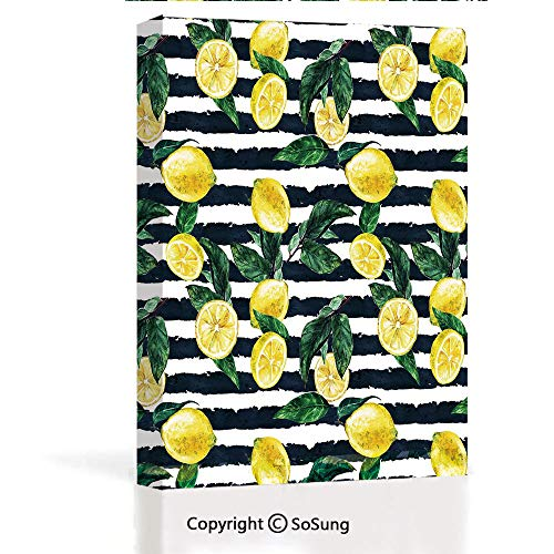 Home Decoration Painting Wall Mural Refreshing Lemons on Horizontal Striped Background Exotic Artwork Living Room Dining Room Studying Aisle Painting,16