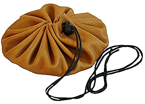 [BUSHCRAFT LEATHER TINDER-POSSIBLES DRAWSTRING POUCH measures 6.5