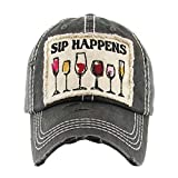 Kbethos Trading Women's Sip Happens Wine Vintage Baseball Hat Cap (Black)