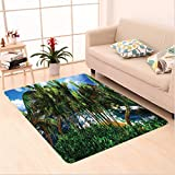 Nalahome Custom carpet awaiian Decorations Hawaii Island Palm Trees Forest Greenery Cloudy Summer Sky Sunlight Seascape area rugs for Living Dining Room Bedroom Hallway Office Carpet (5' X 7')