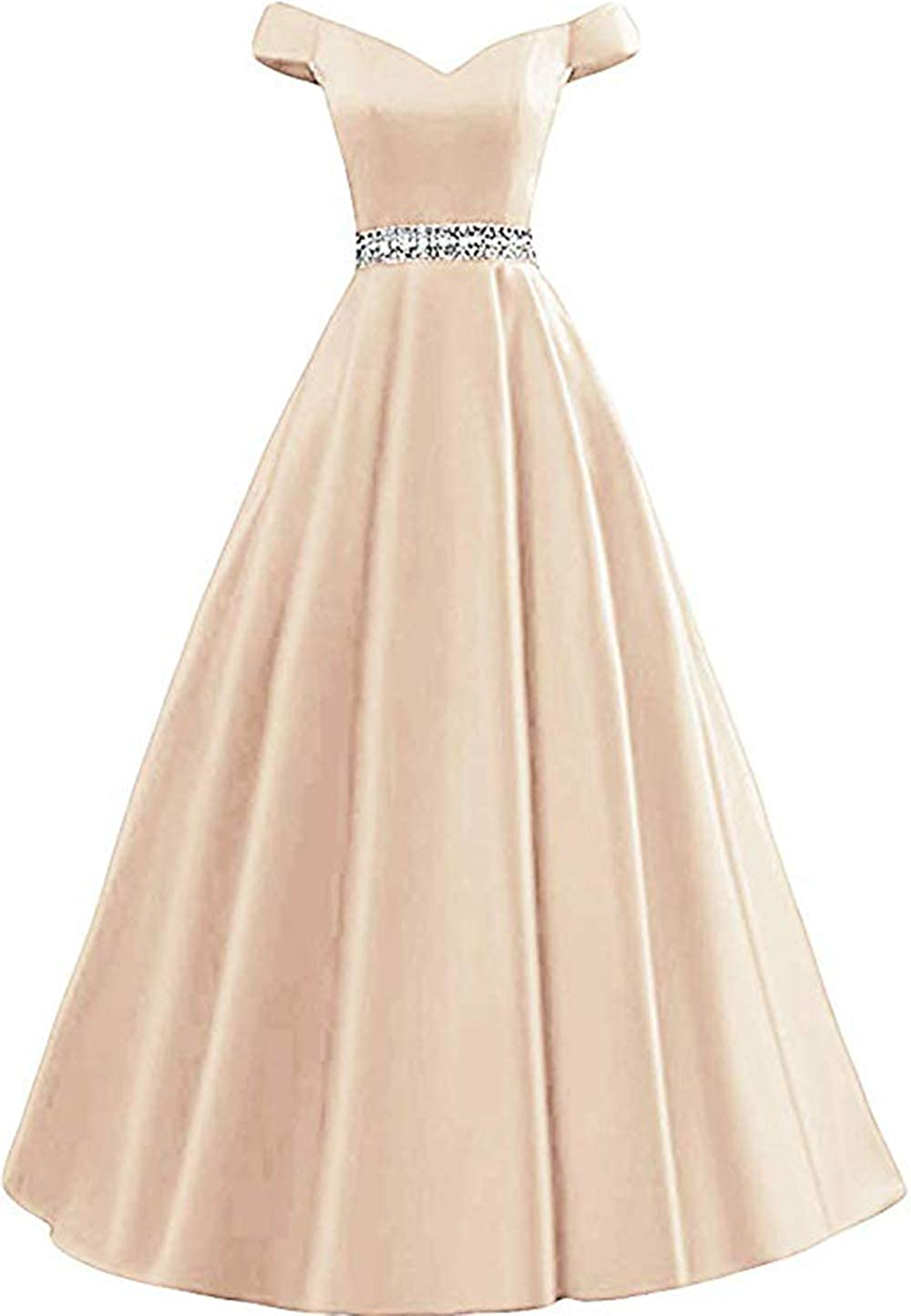 Champagne Rmaytiked Women's Off Shoulder Prom Dresses Long 2019 Satin Beaded A Line Formal Evening Ball Gowns with Pockets