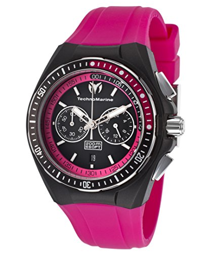 Technomarine Tm-110016 Women's Cruise Chrono Hot Pink Silicone Black Dial & Silicone Cover Watch ()