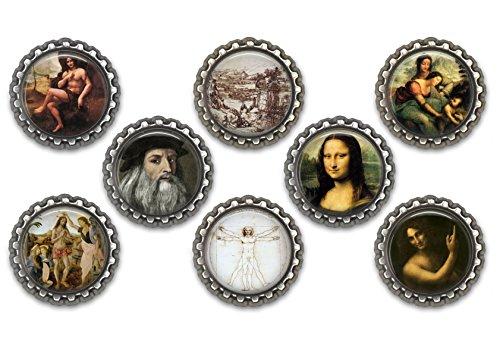 Set of 8 Leonardo da Vinci themed bottle cap magnets.