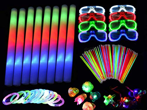 250 Pieces LED Light Up Foam Sticks Set - 3 Modes Color Changing - Flashing Glow in the Dark Party Supplies Light Up Baton Wands for Birthday, Wedding, Party,Concert and Festivals (Adult Edition) ()