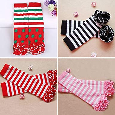 shengyuze Child Toddle Girl Baby Ruffle Solid Color Striped Leg Warmer Christmas Xmas Gift for Toddler Girls